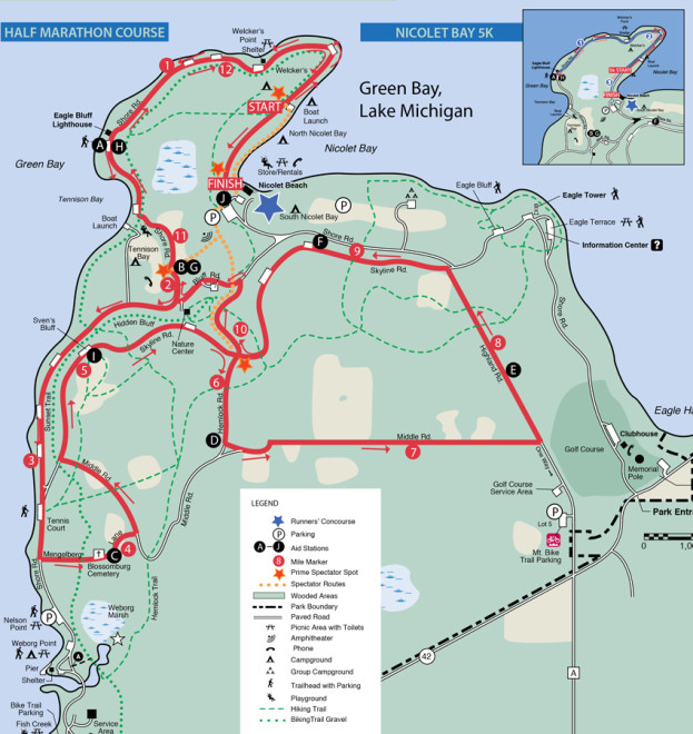 Door County Half Marathon Course Map