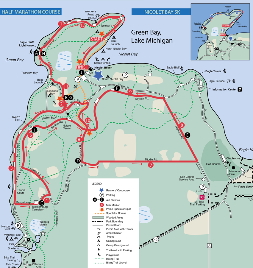 Exceptional Door County Half Marathon Course Map