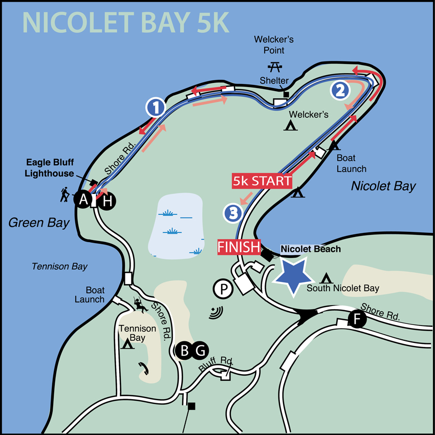 Nicolet Bay 5k Course Map